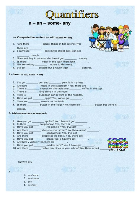 A- An- Some- Any Worksheet